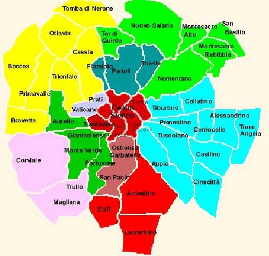 Quartieri di roma mappa e lista cosa fare a roma for Arredamenti roma sud